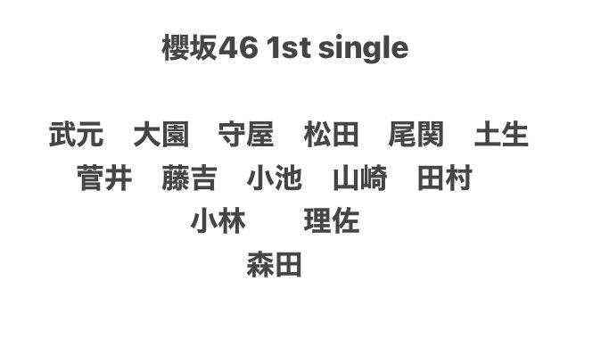 櫻坂46デビューCD「Nobody's fault」フォーメーション